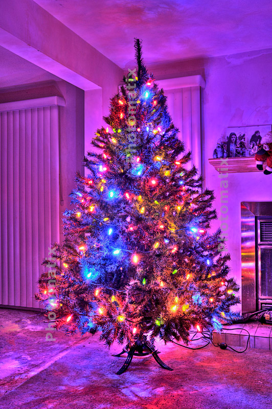 the blue and red lights combine to make a nice overall color cast and the tree lights the room nicely - Purple Christmas Tree Lights